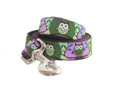 Lola & Foxy Purple Owl Dog Lead, 3/4-Inch by 5-Feet