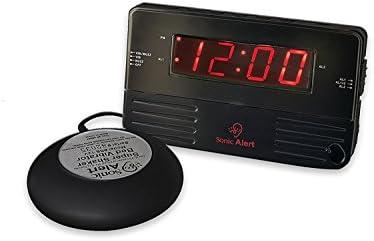 Sonic Alert Black Travel Shaking Vibrating Alarm Clock SB200ssb