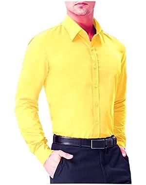 Mens Slim Fit long sleev Solid Dress Shirts