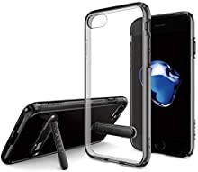 Spigen, Coque Etui Compatible avec iPhone 7/8 [Ultra Hybrid S] Kick Stand/Clear Back Panel + TPU - [Noir de Jais]
