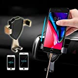 Universal Car Phone Holder Gravity Air Vent Mount Clip Cell Phone Stand for iPhone X 8 7 6S Plus Samsung S9 S8 Plus Note 8 9 Mobile Phone Holder (Gold)