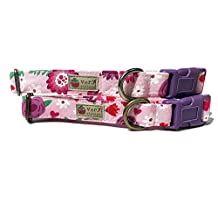 Very Vintage Design Love Flower Dog Cat Collar Girly Light Pink Dark Pink Purple Floral Flowers Hearts Valentine Organic Cotton Pet Collar