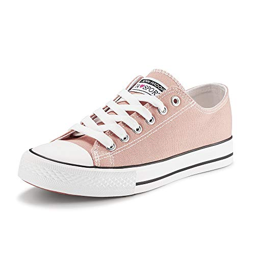 (JENN ARDOR Women's Canvas Shoes Casual Sneakers Low Cut Lace Up Fashion Comfortable Walking Flats Pink 8.5 US)