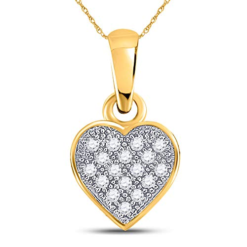 - Jewels By Lux 10kt Yellow Gold Womens Round Diamond Cluster Small Heart Pendant 1/20 Cttw In Pave Setting (I2-I3 clarity; J-K color)