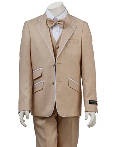 Armando Martillo Boys' Beige Tan Khaki 4 Piece Formal Dress Suit With White Piping Detail Slim Fit For Ring Bearer Summer 2017 Weddings Proms Communions Graduations Holiday & special Occasions 7 by Armando Martillo