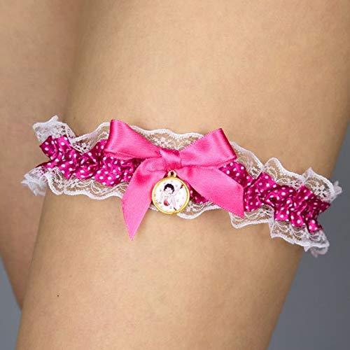 Strumpfband blau pink rosa Betty Boop Hochzeit Braut Brautkleid Unterwaesche