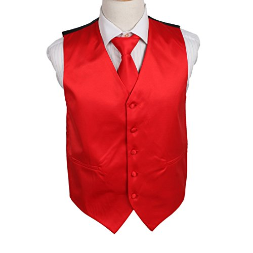 - DGDE0010-2XL Red Elegant Plain Microfiber George Waistcoat Satin For Working Day Vest Matching Neck Tie By Dan Smith