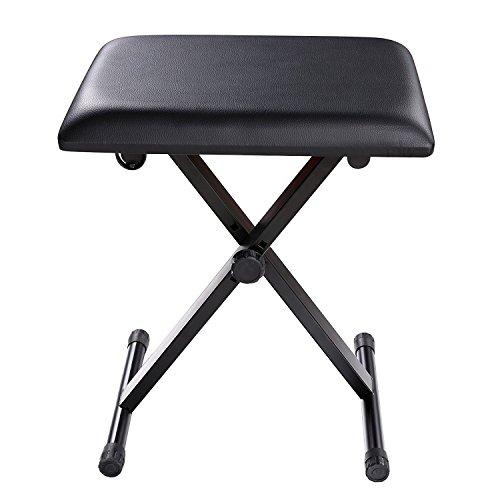 Fashine X-style Adjustable Keyboard Bench Leather Padded Seat Foldable Black Piano Stool (US Stock) by Fashine