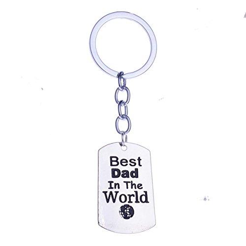 (1 Set Best Dad in The World Keyrings Pendants Women Fur Rabbit Utility Tool Key Tags Zenith Popular Pocket Teenagers Bag Car Keychain)