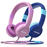 [ 2 Packs ] Mpow Kids Headphones, 2 Children Headphone Set with Volume Control and Mic, Share Interface, Safe Food Grade Material, 85dB Limited Volume, 3.5mm Audio Jack, Blue & Pink