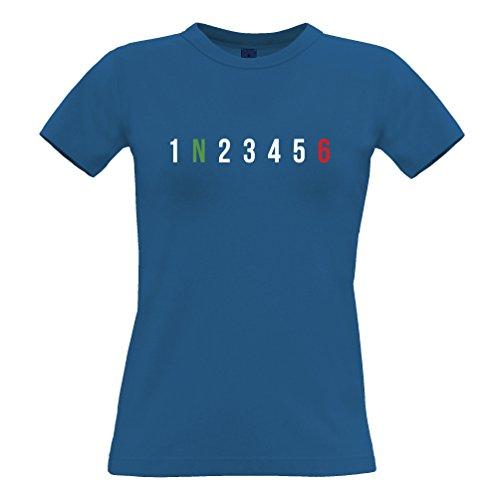 1 N 2 3 4 5 6 moto Ingranaggi Joke freddo motociclista Giro della bici T-Shirt Da Donna