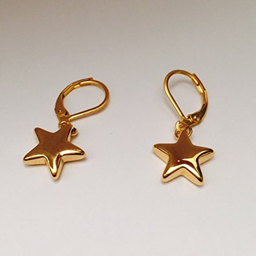 Amythyst Yellow Gold Tone Stainless Steel Hanging Star Leverback Earrings - Dragonfly Yellow Earrings