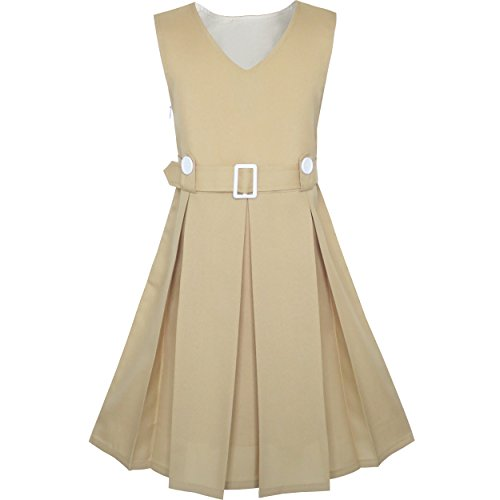 Sunny Fashion KS91 Girls Dress Khaki Button Back School Pleated Hem Size 6