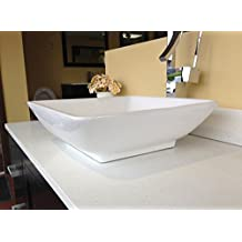 Renzo BSC207 Classic design Bathroom Porcelain Ceramic Sink Vessel Basin Bowl with Pop Up Drain, Chrome