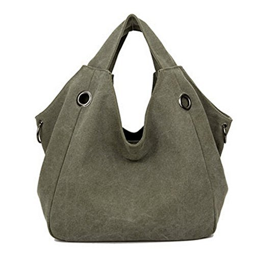 Ecokaki(TM) Casual Canvas Shoulder Large Capacity Casual Hobo Style Tote Bag Handbag Travel Bag, Army Green by Ecokaki by Ecokaki