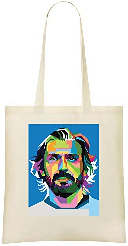 Grocery Colourful colorée Pirlo Illustration Tote For Custom 100 Custom Illustration Shoulder Andrea Soft amp; Eco Bags Bag Use Everyday Printed Andrea Pirlo Friendly Stylish Cotton Handbag zqwXw