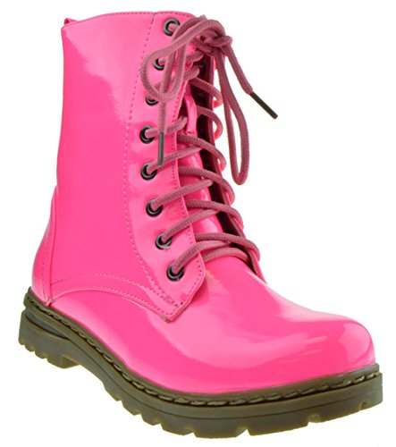 Womens Pink Boots (Gwen 01 HI Womens Patent Milatary Lace Up Combat Boots PINK 10)