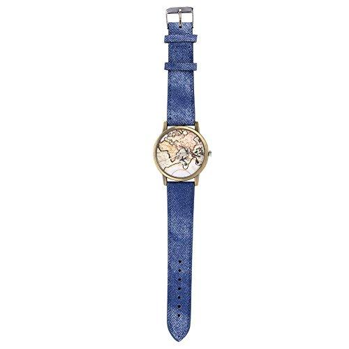 Watches for Women, Female Quartz Analog Wrist Watch Round Denim Strap Wristwatch (Blue) ()