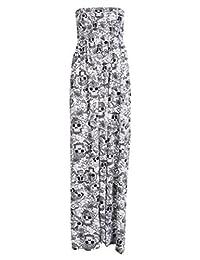 New Womens Plus Size Boob Tube Printedm Sheering Summer Maxi Dress 4-22