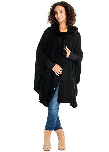 Women's Elegant Cardigan Rabbit Fur Collar Trim With Hood Poncho Shawl Cloak (One Size, Black)