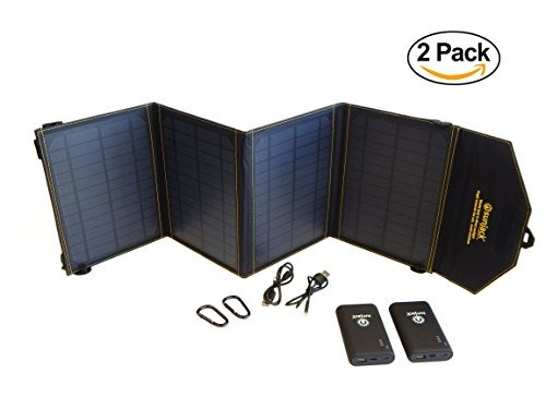 Bundle of 2: SunJack 20W Solar Charger + 2x10000mAh QC 3.0 Power Banks - Portable Solar Panel with USB for Cell Phones, iPad Battery, Backpacking, Camping, Hiking