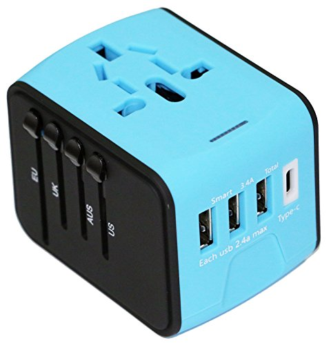 All-In-One International Travel Plug Adapter with 4 USB Ports-Great for iPhone/Smartphone/Laptop by Bangder