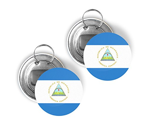 - Country of Nicaragua Two Pack of Flag Beer Bottle Opener Keychain Buttons 2.25-inch Round Nicaraguan