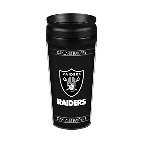 NFL Oakland Raiders Full Wrap Travel Tumbler, 14-Ounce, Black