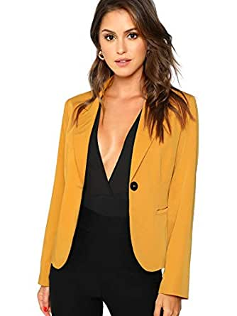 Milumia Women's Casual Long Sleeve Button Nocth Collar Work Blazer Jacket Yellow S