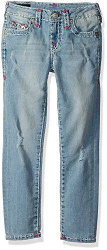True Religion Girls' Casey Skinny Super T Jean, Cloudy Silver, 3T by True Religion