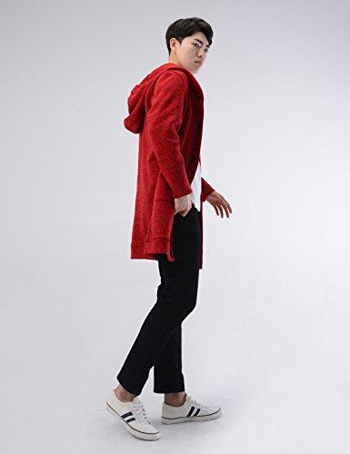 NEARKIN (NKNKTNC606) Mens Fleece Slim Cut Look 6 Button Hoodie Long Cardigan RED US XXL(Tag size 2XL)