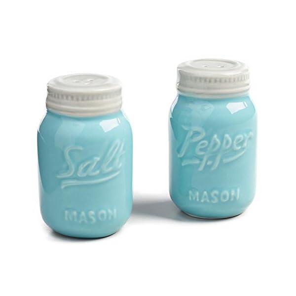 World Market Ceramic Mason Jar Salt and Pepper Shaker - Great Kitchen Accessories 1 Salt and 1 Pepper Jar - Retro Table… 1