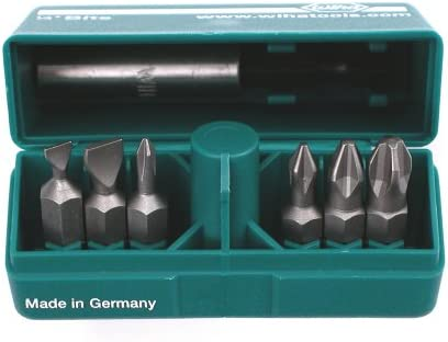 Wiha 71198 PokitPak Slotted and Phillips Titanium Coated Insert Bits in Molded Case
