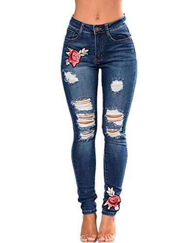 Mujer Vaqueros Skinny Push-Up Pantalones Bordado de Floral Cintura Alta Vaqueros Rotos Tamaño Grande Leggings Jeans Azul Oscuro