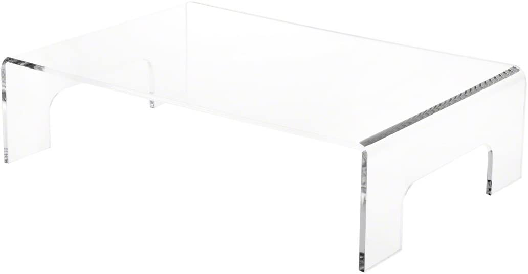 "Plymor Clear Acrylic Display Riser with Tray Handles, 4"" H x 15"" W x 10"" D (3/16"" Thick)"