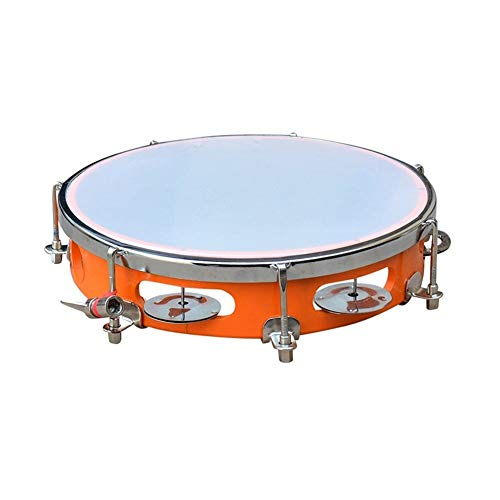 Indian classical musical instrument Super Band Tambourine Hand Percussion Musical instrument 10 inch Fibre Daffli (Orange)