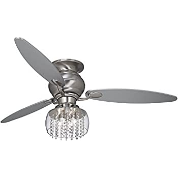 """52"""" Casa Optima Brushed Steel and Crystal Ceiling Fan"""