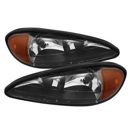 Black Bezel Housing With Crystal Clear Lens Headlights Headlamps For Pontiac Grand Am 99-05 1999 2000 2001 2002 2003 2004 2005