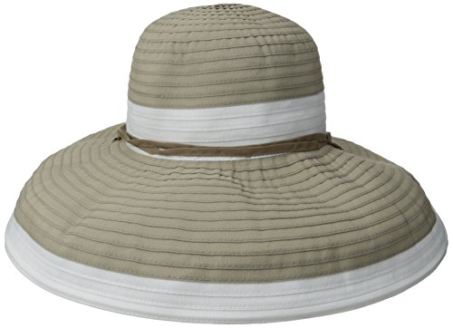 physician-endorsed-womens-gemini-ribbon-chin-strap-packable-hat-rated-upf-50-khaki-white-one-size