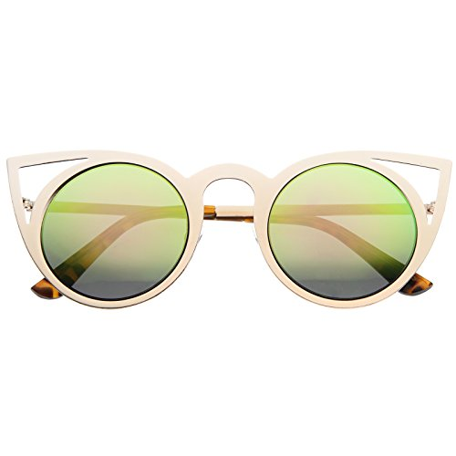 (Womens Fashion Round Metal Cut-Out Flash Mirror Lens Cat Eye Sunglasses (Gold/Pink Green Mirror))