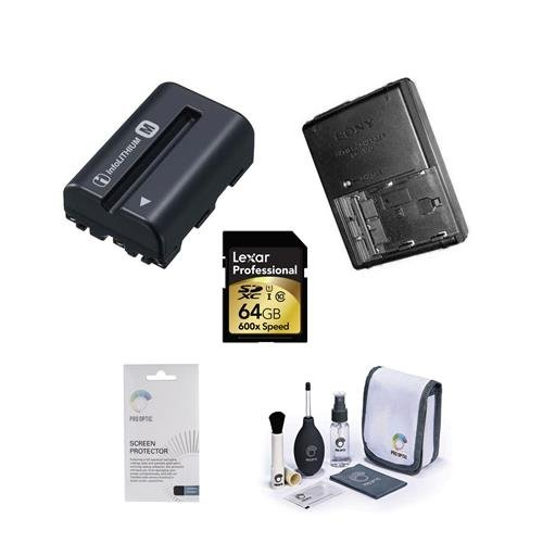 Sony A77II Accessory Bundle - Consists of NP-FM500H Battery, BCVM10 Quick Charger, Lexar 64GB 600x SDXC Memory Card, Dedicated Sceeen Protector, Cleaning Kit