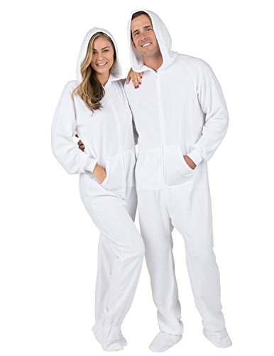 Footed Pajamas Family Matching Arctic White Adult Hoodie Fleece Onesie -  Large Plus  Amazon.ca  Clothing   Accessories f8f8b36442b7