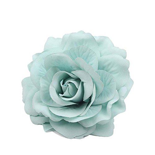 - Lovefairy Beautiful Rose Flower Hair Clip Pin up Flower Brooch For Party Travel Festivals (Mint Green)