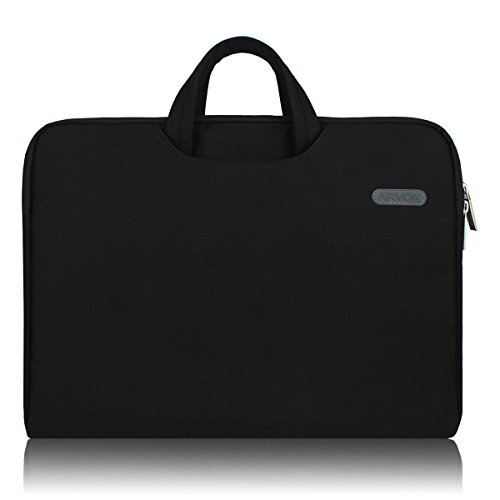 Arvok 17 17.3 Inch Water-resistant Canvas Fabric Laptop Sleeve With Handle Zipper Pocket/Notebook Computer Case/Ultrabook Tablet Briefcase Carrying Bag For Acer/Asus/Dell/Lenovo/HP/Samsung/Sony, Black ()