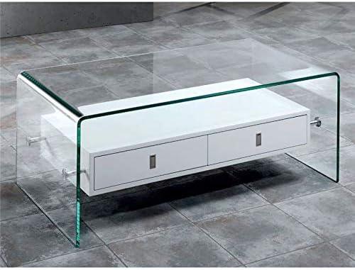 Mesa de Centro Cristal Curvado con Dos cajones Darel 110 cm ...