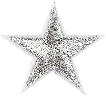 FiedFikt - 10 pegatinas de parche de estrellas plateadas para ropa, zapatos y sombreros, accesorios de ropa, insignias bordadas: Amazon.es: Hogar