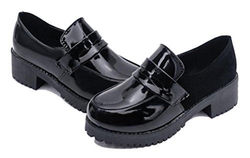 ACE SHOCK Women's Girl's Lolita Low Top Japanese Students Maid Uniform Dress Shoes (5.5) Black ()