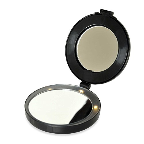 Floxite Compact & Mini Vanity Mirror - Magnifies 10x with LE