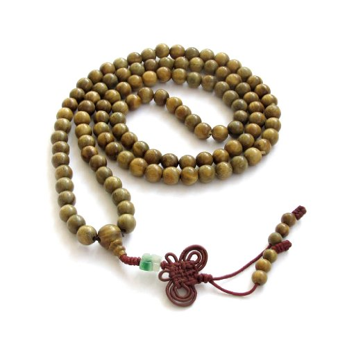 - Green Sandalwood Beads Tibetan Buddhist Prayer Meditation Mala Necklace