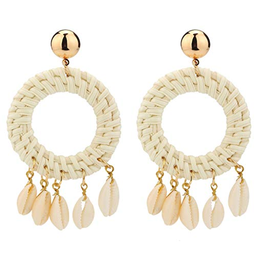 OutTop(TM) Clearance Weaving Straw Square Earrings Bohemian Rattan Shell Pendant Declaration Earrings Birthday Gift for Women (White) (Rose Man Wicker Sister)